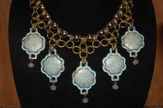 Upcycled Brass Belt Pieces - Beautiful Boho Chic Statement Necklace by Menono Designs