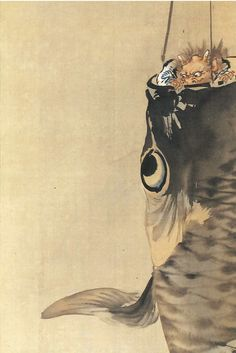 'Demon hiding in the carp streamer' by Japanese painter Kyosai Kawanabe (1831-1889). via Tapestry from an Asteroid