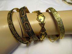 VTG LOT-4  TAILLE D'EPARGNE BRACELETS JEWELRY DAMASCENE GOLD & BLACK CLOISONNE #HingedandLink