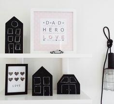 DIY Wooden small #black #blackpoard #houses. www.facebook.com/kotona.sisustustuotteet