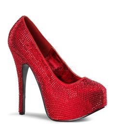 """Teeze-06 red satin platform pumps covered in red rhinestones has a 5 3/4"""" heel with a 1 3/4"""" concealed platform. The shoes tend to run small and are only available in whole sizes. So if your in betwee"""