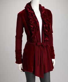 Take a look at this Colour Works Burgundy Ruffle Belted Cardigan by New Year's Eve: Apparel & Shoes on #zulily today!