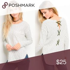 NEW ITEM🎀Cross Back Top PERFECT WINTER PIECE ❄️ This top can be worn alone or layered with many other things! Beautiful quality item. Front pocket—black and white colors. Side slits—80% cotton 20% polyester   Don't miss out! Very J Tops Tees - Long Sleeve