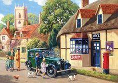 Out and About-Village Store ~ - jigsaw puzzle pieces) Best Jigsaw, Nostalgia Art, Puzzle Art, Cartoon Art Styles, Classic Paintings, Z Arts, Country Art, Car Painting, Art Challenge