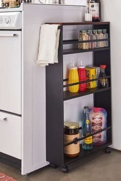 Check out Rolling Kitchen Storage Cart from Urban Outfitters Small Apartment Kitchen, Home Decor Kitchen, Diy Kitchen, Kitchen Ideas, Studio Apartment Storage, Kitchen Cupboard, Kitchen Appliances, Cheap Kitchen, Cupboard Storage