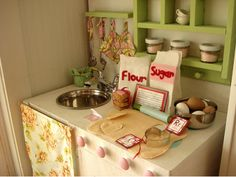 So neutral and cute! DIY Play kitchen