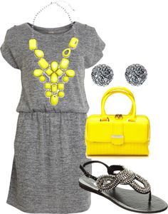 """Grey and Neon Yellow"" by lovelyingreen ❤ liked on Polyvore"