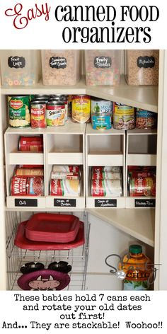 Canned food organizer plans - to make    http://www.shanty-2-chic.com/2013/03/kitchen-organization-stackable-canned-food-organizers.html
