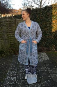 Rabbit Fabric Morning Robe using a self drafted pattern