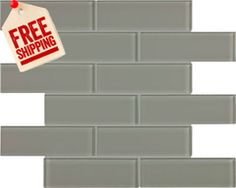 Bliss Elements Smoke 2x6 Glass Subway Tile - Free Shipping
