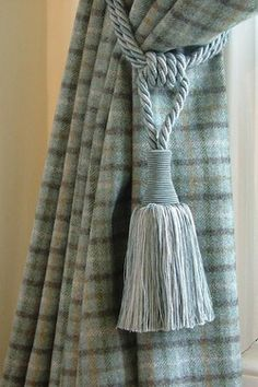 Tartan grey-blue wool curtains with silvery blue tassel tie-backs. Subtle and elegant. Tartan Decor, Tartan Plaid, Blue Plaid, Curtain Tie Backs, Curtain Fabric, Tartan Curtains, Made To Measure Curtains, Duck Egg Blue, Blue Wool