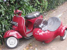 Vespa with side-car, via Flickr.