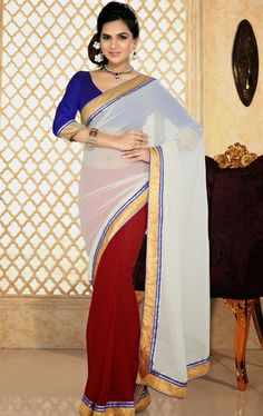 Picture of Delicate Red and White Party Wear Saree Online
