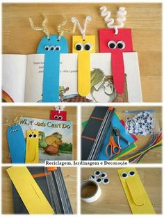 Punto de libro Kids Crafts, Foam Crafts, Projects For Kids, Arts And Crafts, Creative Bookmarks, Diy Bookmarks, Diy For Men, Diy For Kids, Minion Craft