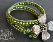 Dogwood Flower Beaded Pearl Leather Wrap Bracelet