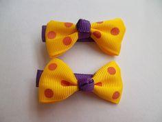 Par de Presilhas Laço Poa - Amarelo