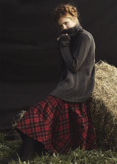 Wide hem plaid flannel contrast paired with circle skirt. Cabbages & Roses Autumn Winter 2012