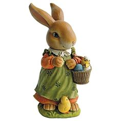"Bunny Hop Lane Mother Rabbit Statue. Our cute garden bunny statues will steal your heart they're so adorable you'll want to give them a hug! These Design Toscano-exclusive rabbit sculptures ""hop to it"" in quality designer resin, fully hand-painted with superior detail from adorable bunny eyes to baby chicks at their feet! #bunny #rabbit #statue"
