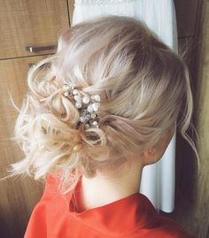 Messy Blonde Updo For Thin Hair