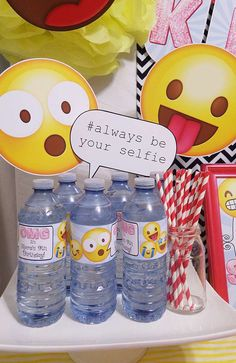 Dressed up drinks at a emoji birthday party! See more party ideas at CatchMyParty.com!
