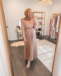 Modest Wear, Modest Outfits, Modest Fashion, Fashion Outfits, Modest Clothing, Work Outfits, Women's Fashion, Hijab Fashionista, Rose Gold Skirt