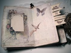 Do you love birds and their nests? If so, this delightful, multi use art journal will be a perfect way to record your thoughts and observations. This journal had eight delightful heavy card stock pages, decorated with pretty collages I have designed using vintage images of birds from victorian greeting cards and books.    This journal, however, is different from my others. Incorporated into this book, is a lined moleskine with 80 pages of lovely, lined paper. [by lacegrl130 on Etsy]