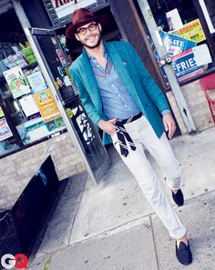 Old Man Style for Young Men: Style: GQ  turquoise blazer, blue shirt, white pants