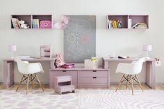 Escritorios habitaciones compartidas http://www.mamidecora.com/escritorios%20infantiles_mesas_ni%C3%B1os.html