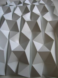 200 and 300 micron polypropylene, sheets score-grazed with a Craft Robo 3d Pattern, Tile Patterns, Textures Patterns, Pattern Design, Folding Structure, Digital Fabrication, Textile Texture, Ex Machina, Paper Folding