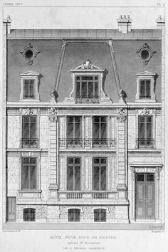 Elevation of a residence for a painter, Paris Revit Architecture, Classic Architecture, Commercial Architecture, Architecture Drawings, Historical Architecture, Architecture Details, Paris Architecture, Monuments, Building Drawing