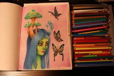 Color pencil speed drawing, Butterflies in pink
