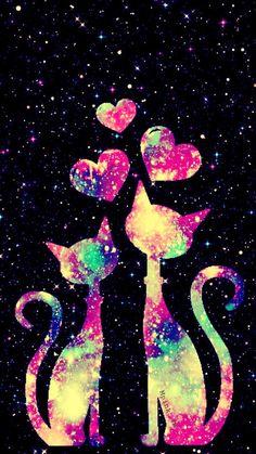 Kitty Love Galaxy Wallpaper Source by Wallpaper World, Unicornios Wallpaper, Glitter Wallpaper, Heart Wallpaper, Cute Wallpaper Backgrounds, Tumblr Wallpaper, Pretty Wallpapers, Cute Galaxy Wallpaper, Animal Drawings