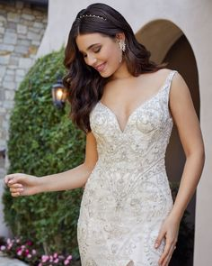 Style 2439 Carley | Beaded Fit and Flare Wedding Dress by Casablanca Bridal | Casablanca Bridal Fit And Flare Wedding Dress, Bridal Gowns, Wedding Dresses, Casablanca, Sophisticated Style, Lace Dress, Dress For You, Timeless Fashion, Tulle
