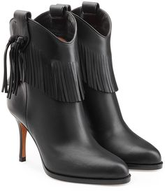 Valentino Leather Boots with Fringe