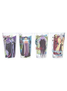 <p>Set of four pint glasses from Disney with villains themed designs featuring Cruella, Ursula, Evil Queen & Maleficent.</p>  <ul> <li>16 oz.</li> <li>Glass</li> <li>Imported</li> </ul>  <p></p>  <p></p>  <p></p>