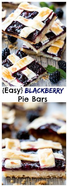 Blackberry Pie Bars - A real treat with a buttery shortbread crust, a berry packed fruit filling and a secretly easy lattice crust.
