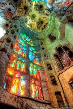Antoni Gaudi rainbow, Basilica de la Sagrada Familia. Barcelona, Spain. Website with virtual tour: http://www.sagradafamilia.cat/