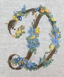 Resultado de imagen para silk ribbon embroidery LETTER