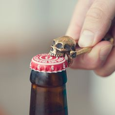 Back in the 1300s, Europeans decorated their homes with skulls as a reminder to celebrate life. What better way to remind yourself to have a good time than this biting skull bottle opener? Hand cas...