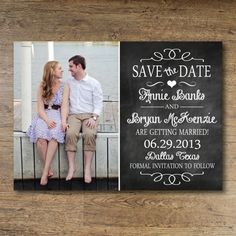 Printable Save the Date - Chalkboard Vintage on Etsy, $16.04 AUD