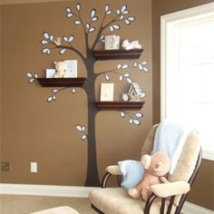 Tree Branch Shelves for the corner in my living room that belongs to all of Liya's crap!!!! :)