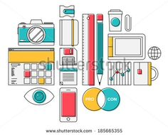 Flat design thin line icons modern style illustration vector set of trendy office supplies and business objects for daily routine, regular items on a desk, marketing report and workflow elements.  - stock vector