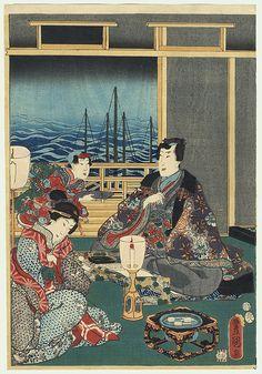 Toyokuni III/Kunisada (1786 - 1864)  Prince Genji Writing by Lamplight. $97