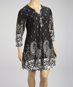 Take a look at this Black Paisley Shift Dress - Plus on zulily today!