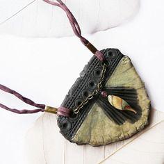 Collier raku ☼ les minoennes ☼ - l'atlante -, céramique artisanale, pièce unique de créateur.