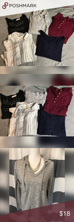 5 piece women's top These are all size large . Could pass for brand new . Brands include gap , pink rose , and faded glory  . Priced to move   White and black striped button up top Gap basic long sleeve  Multi button accent long sleeve top  Faded glory hooded top  Faded glory gold and black accent top Tops Tees - Long Sleeve