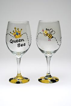 """Queen Bee"" hand painted wine glass by The Stylish Palette, GA"
