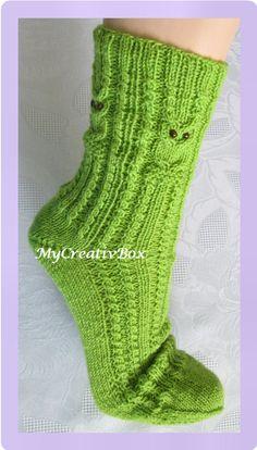 """Socken """"Eulentanz"""" für Gr. 32-47, Anleitung von MyCreativBox, gestrickt mit Sockenwolle 4-fach"""