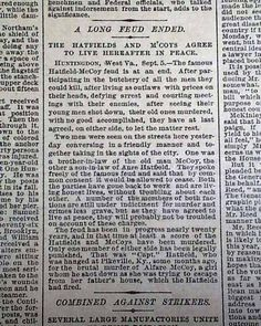"""Historic Newspaper with coverage of the Hatfield-McCoy feud: New York Times, September 6, 1890  """"A Long Feud Ended"""" """"The Hatfields and M'Coys Agree to Live Hereafter in Peace"""""""