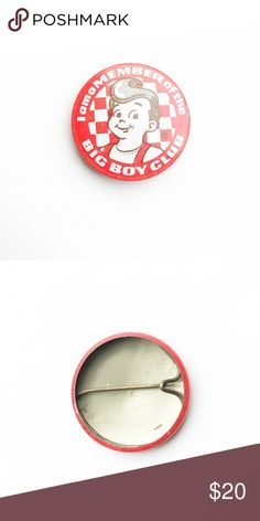 """Vintage Bob's Big Boy Club Pin Vintage Bob's Big Boy Club """"I'm a Member"""" Pin Pinback Button Badge  • Genuine vintage  • 1  1/8"""" across • Colors: red, white, brown  • Themes: diner, fifties, 50s, rockabilly, classic • All of the pins I sell are vintage and may contain minor nicks, imperfections, oxidation, or slight bubbling. Vintage Accessories"""